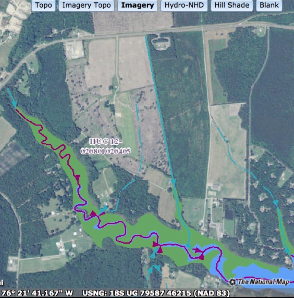 National Map Hydrography view showing intermittent stream on proposed site and East River.