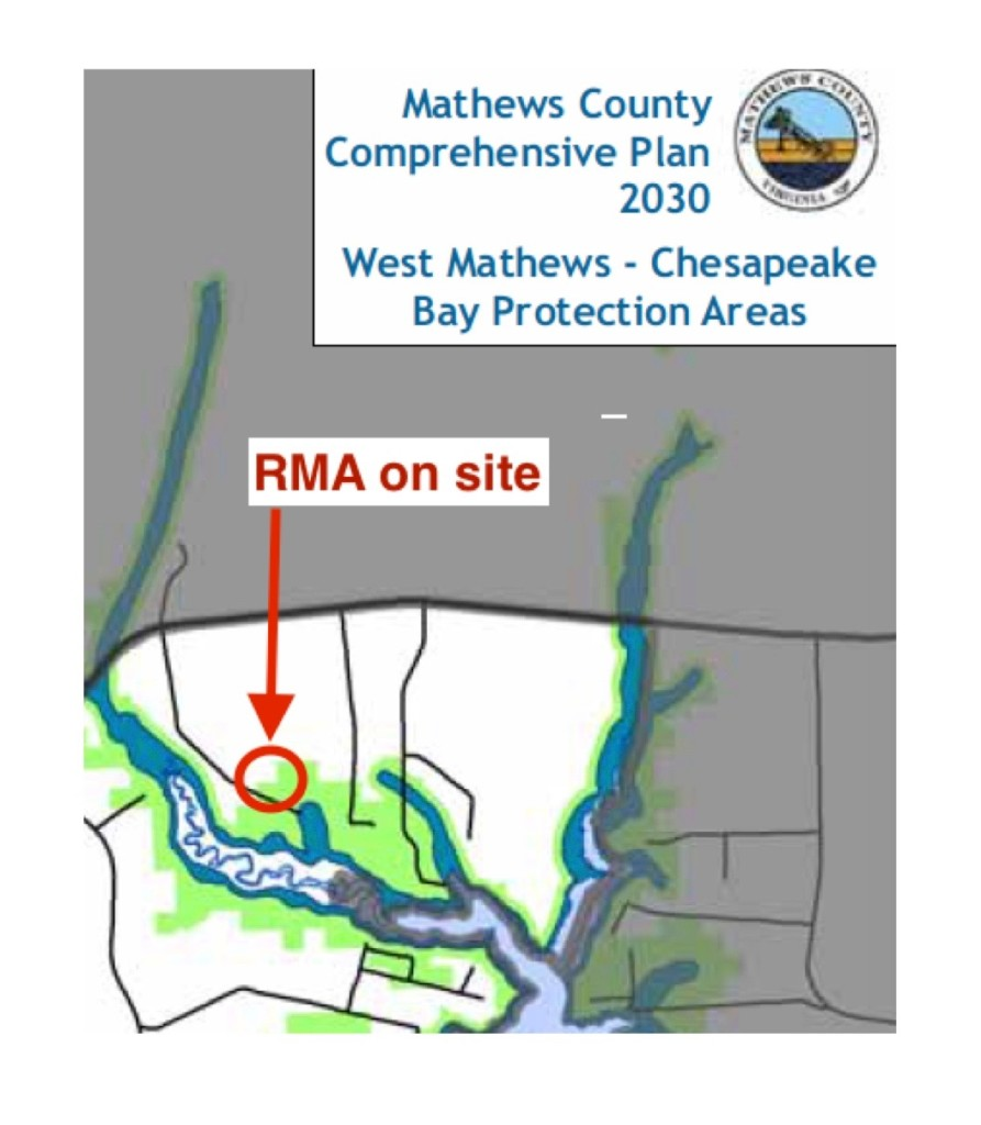 Mathews County Comprehensive Plan showing West Mathews Chesapeake Bay Protection Areas. RMA on proposed site circled in red.